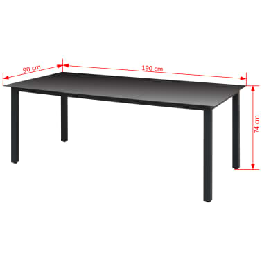 "vidaXL Garden Table Black 74.8""x35.4""x29.1"" Aluminium and Glass[3/3]"
