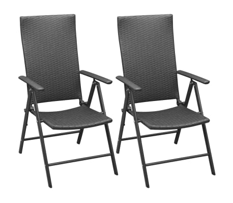 vidaxl gartenst hle 2 stk poly rattan aluminium schwarz g nstig kaufen. Black Bedroom Furniture Sets. Home Design Ideas