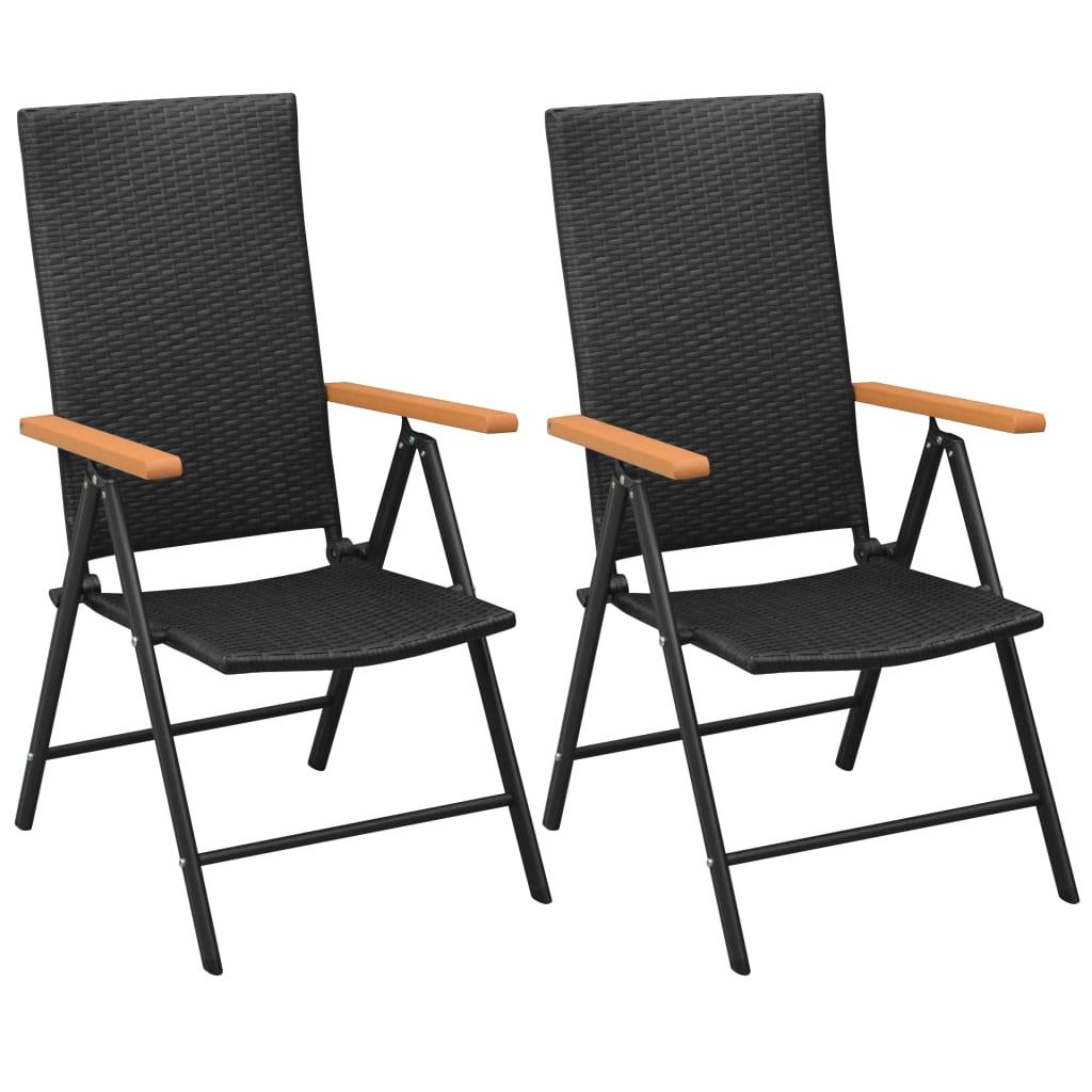 vidaXL Καρέκλες Κήπου Στοιβαζόμενες 2 τεμ. Μαύρες από Συνθετικό Ρατάν