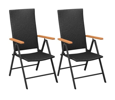 vidaXL Stackable Garden Chairs 2 pcs Poly Rattan Black[1/7]