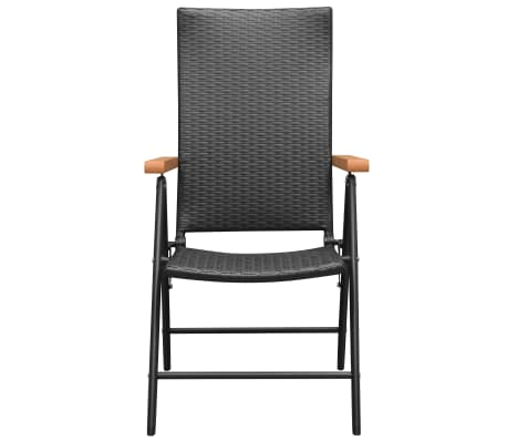 vidaXL Stackable Garden Chairs 2 pcs Poly Rattan Black[3/7]
