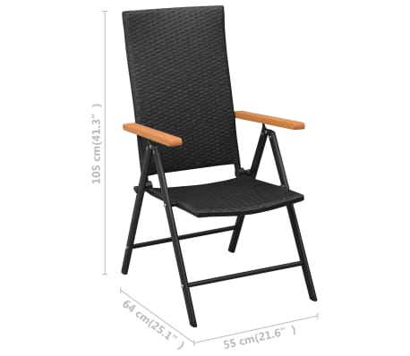 vidaXL Stackable Garden Chairs 2 pcs Poly Rattan Black[7/7]