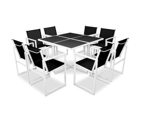 vidaXL 9 Piece Outdoor Dining Set Aluminium Black