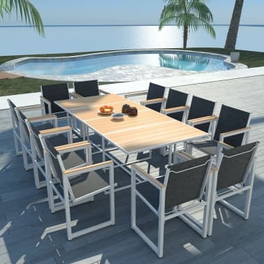 Vidaxl 13 Piece Outdoor Dining Set With Wpc Tabletop
