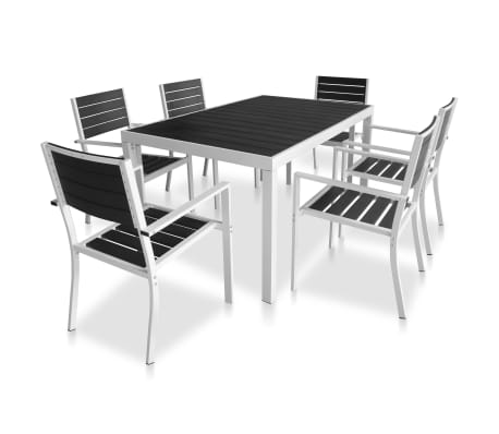 vidaXL 7 Piece Outdoor Dining Set with WPC Tabletop Aluminium Black[2/11]