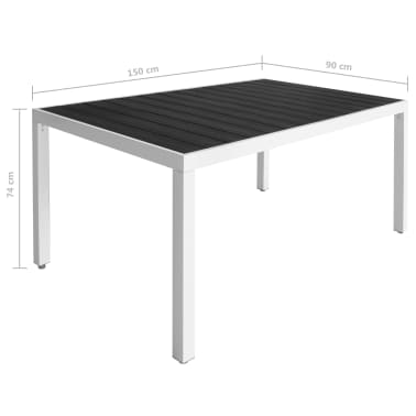 vidaXL 7 Piece Outdoor Dining Set with WPC Tabletop Aluminium Black[10/11]