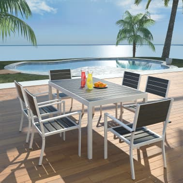vidaXL 7 Piece Outdoor Dining Set with WPC Tabletop Aluminium Black[1/11]