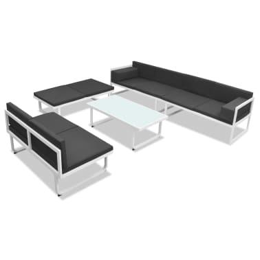 Vidaxl sof s para jard n 17 piezas textilene y aluminio for Sofa exterior aluminio blanco