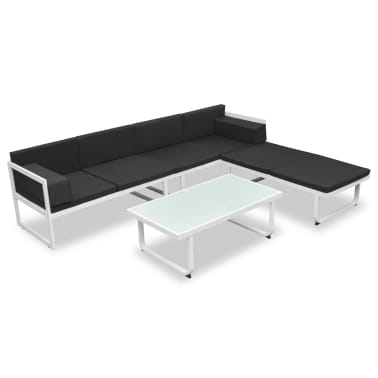vidaXL Garden Sofa Set 13 Pieces Textilene Aluminum Black and White[2/10]