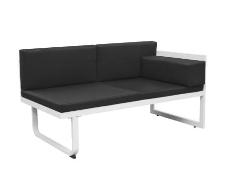 vidaXL 4 Piece Garden Lounge Set with Cushions Aluminium Black[5/10]
