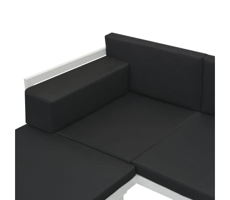 vidaXL 4 Piece Garden Lounge Set with Cushions Aluminium Black[9/10]