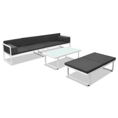 vidaXL Garden Sofa Set 13 Pieces Textilene Aluminum Black and White[3/10]