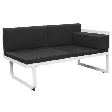 vidaXL Garden Sofa Set 13 Pieces Textilene Aluminum Black and White[5/10]