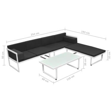 vidaXL 4 Piece Garden Lounge Set with Cushions Aluminium Black[10/10]