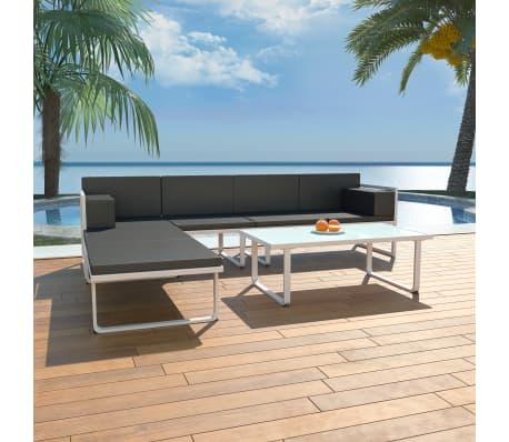 acheter vidaxl ensemble de canap s de jardin 13 pcs textil ne aluminium noir et blanc pas cher. Black Bedroom Furniture Sets. Home Design Ideas