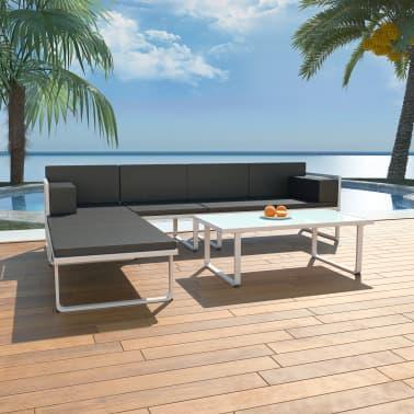 vidaXL Muebles de jardín 13 piezas textilene y aluminio negro y ...
