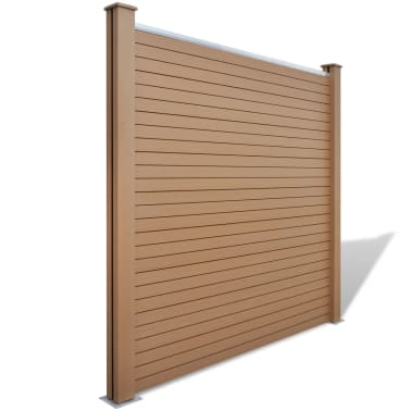 """vidaXL WPC Fence Panel with 2 Posts 72.8""""x72.8"""" Brown[1/9]"""