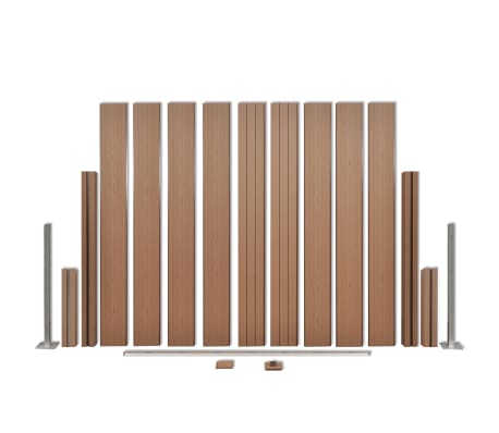 """vidaXL WPC Fence Panel with 2 Posts 72.8""""x72.8"""" Brown[4/9]"""