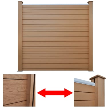 """vidaXL WPC Fence Panel with 2 Posts 72.8""""x72.8"""" Brown[3/9]"""