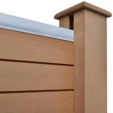 """vidaXL WPC Fence Panel with 2 Posts 72.8""""x72.8"""" Brown[5/9]"""