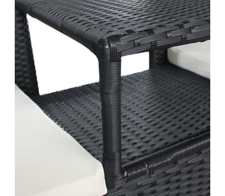 vidaxl gartenbank 2 sitzer mit tisch poly rattan schwarz g nstig kaufen. Black Bedroom Furniture Sets. Home Design Ideas
