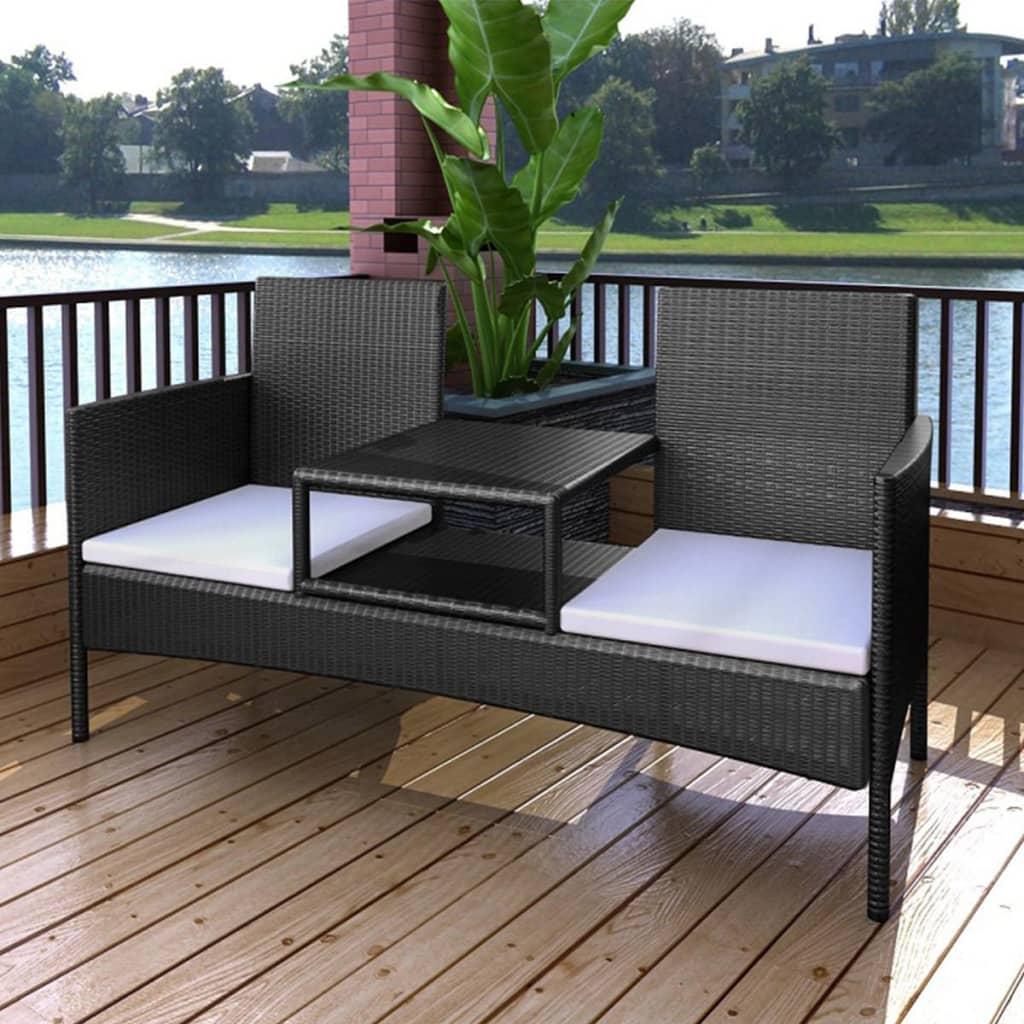 vidaXL Canapea de grădină cu 2 locuri, măsuță de ceai, negru poliratan vidaxl.ro