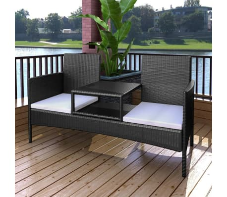 vidaxl gartenbank 2 sitzer mit tisch poly rattan schwarz g nstig kaufen. Black Bedroom Furniture Sets. Home Design Ideas