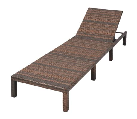 vidaXL Sun Lounger with Cushion Adjustable Poly Rattan Brown[6/9]