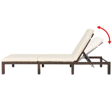 vidaXL Sun Lounger with Cushion Adjustable Poly Rattan Brown[4/9]