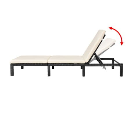 vidaXL Sun Lounger with Cushion Poly Rattan Black[4/9]