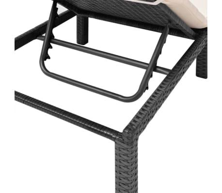 Acheter vidaxl chaise longue r glable avec coussin noir for Chaise longue en resine tressee pas cher