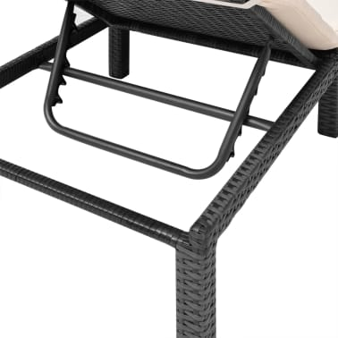 vidaXL Sun Lounger with Cushion Poly Rattan Black[8/9]