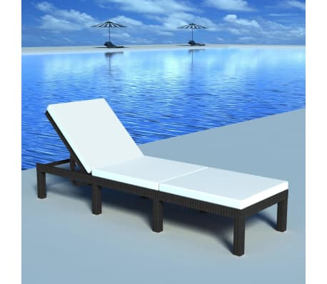 vidaXL Sun Lounger with Cushion Poly Rattan Black[1/9]