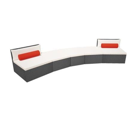 vidaXL 5-delige Loungeset met kussens poly rattan zwart[3/14]