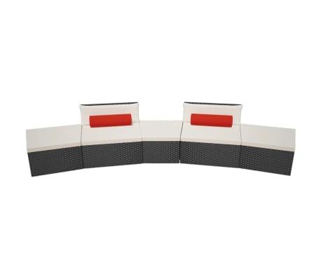 vidaXL 5-delige Loungeset met kussens poly rattan zwart[4/14]