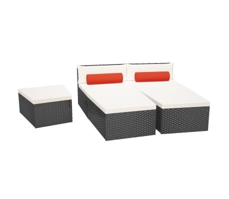 vidaXL 5-delige Loungeset met kussens poly rattan zwart[6/14]