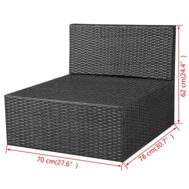 vidaXL 5-delige Loungeset met kussens poly rattan zwart[12/14]