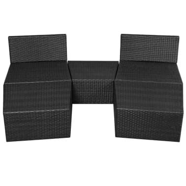 vidaXL 5-delige Loungeset met kussens poly rattan zwart[8/14]