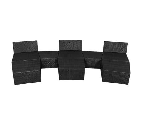 vidaXL 8 Piece Garden Lounge Set with Cushions Poly Rattan Black[6/12]