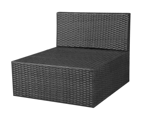 vidaXL 8 Piece Garden Lounge Set with Cushions Poly Rattan Black[7/12]