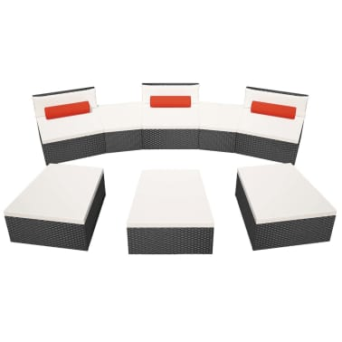 vidaXL 8 Piece Garden Lounge Set with Cushions Poly Rattan Black[3/12]