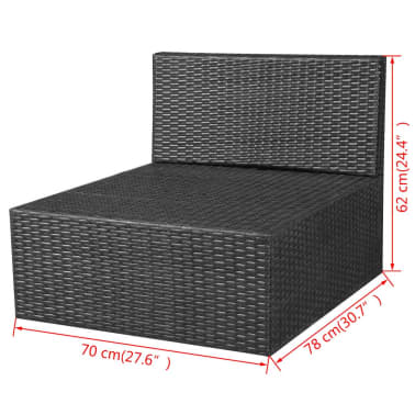 vidaXL 8 Piece Garden Lounge Set with Cushions Poly Rattan Black[10/12]