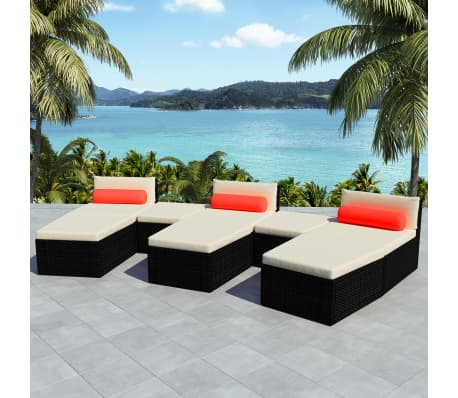 vidaXL 8 Piece Garden Lounge Set with Cushions Poly Rattan Black[1/12]