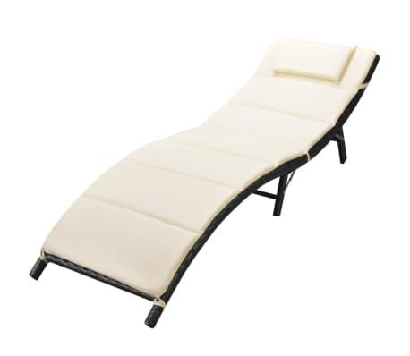 acheter vidaxl chaise longue pliable avec coussin noir r sine tress e pas cher. Black Bedroom Furniture Sets. Home Design Ideas