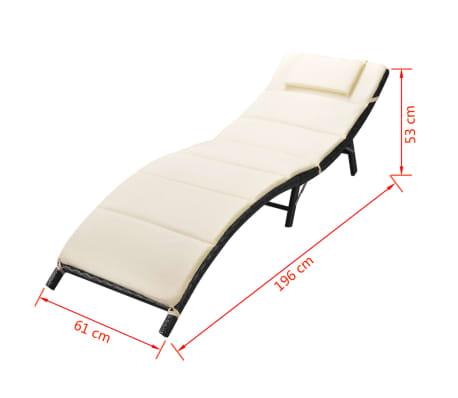 Acheter vidaxl jeu de chaise longue pliable 5 pcs noir Chaise longue en resine tressee pas cher