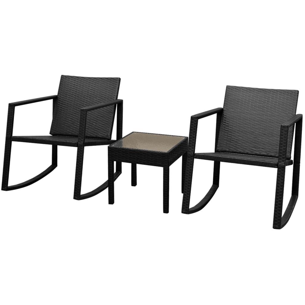 vidaXL Σετ Κουνιστής Καρέκλας & Τραπεζιού 3 τεμ. Μαύρο Συνθετικό Ρατάν
