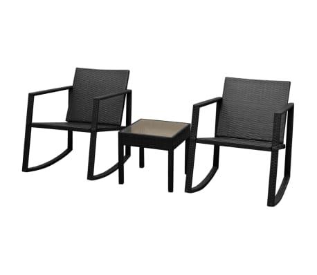 vidaXL Set mobilier bistro, 3 piese, negru, poliratan