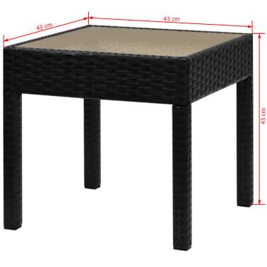 vidaXL 3-dielna bistro súprava polyratanová čierna[9/9]