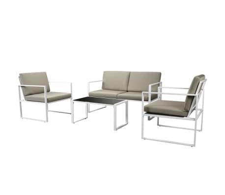 vidaXL Set mobilier de grădină cu perne, 4 piese, alb, oțel