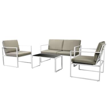 vidaXL 4-cz. zestaw wypoczynkowy do ogrodu, poduszki, stal, biały[2/10]